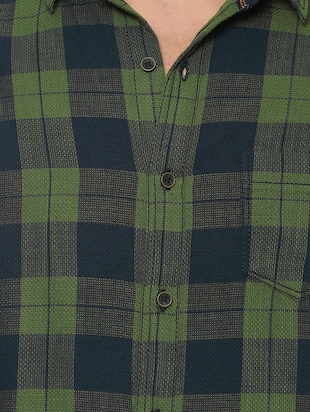 green cotton casual shirt - 14504677 - Standard Image - 4