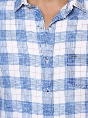 blue cotton casual shirt - 14504711 - Standard Image - 4