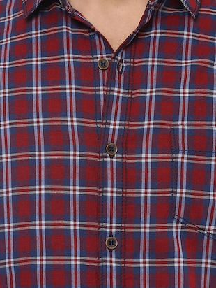 red cotton casual shirt - 14504717 - Standard Image - 4