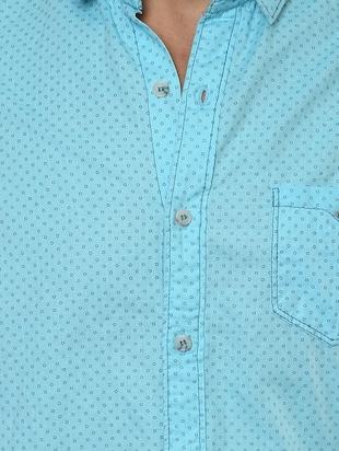 blue cotton casual shirt - 14504767 - Standard Image - 4