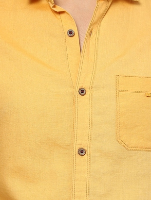 yellow cotton casual shirt - 14504783 - Standard Image - 4