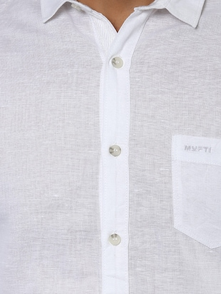 white cotton casual shirt - 14504928 - Standard Image - 4