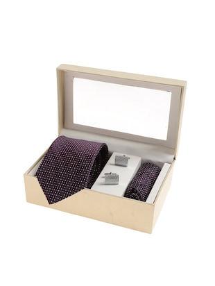 purple micro silk fabric tie with cuff link and pocket square - 14506787 - Standard Image - 4