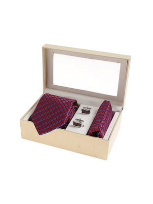 maroon  micro silk fabric tie with cuff link and pocket square - 14506841 - Standard Image - 4