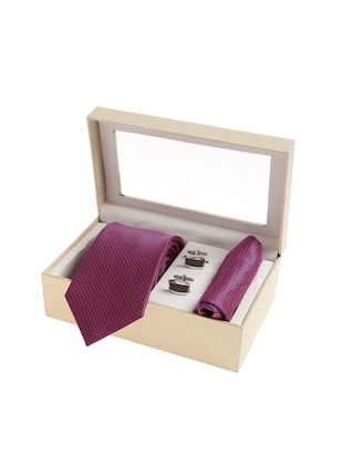 purple  micro silk fabric tie with cuff link and pocket square - 14506878 - Standard Image - 4