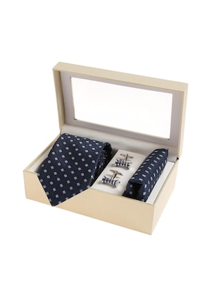 navy blue  micro silk fabric tie with cuff link and pocket square - 14506889 - Standard Image - 4