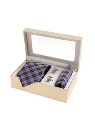 purple  micro silk fabric tie with cuff link and pocket square - 14506917 - Standard Image - 4