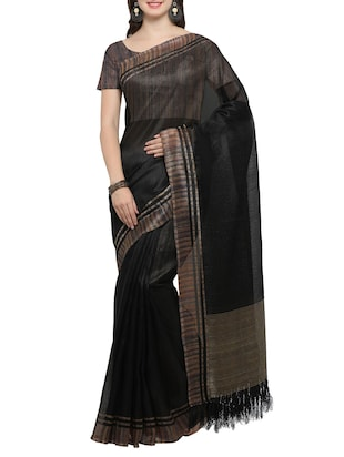 Set of 2 Multicolored tussar silk bordered saree with blouse - 14509813 - Standard Image - 4