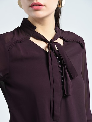 tie up neck button detail top - 14511611 - Standard Image - 4