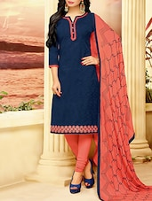 blue cotton churidaar suits dress material -  online shopping for Unstitched Suits