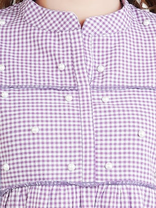 purple checkered cotton tunic - 14519322 - Standard Image - 4