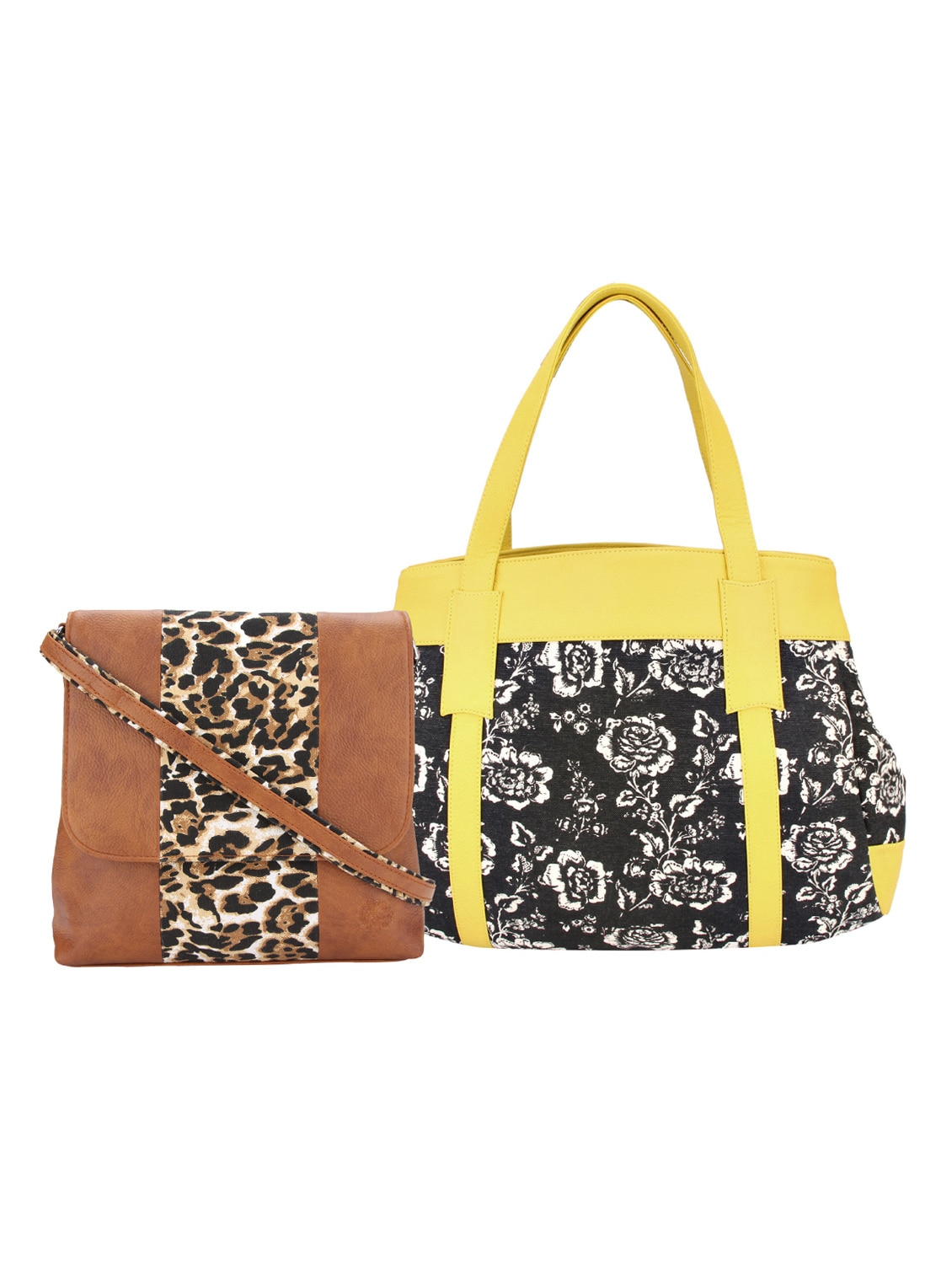multi colored leatherette printed handbag tn10