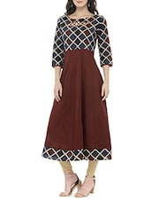 brown cotton anarkali kurta -  online shopping for kurtas