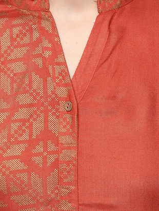 orange viscose straight kurta - 14527355 - Standard Image - 4