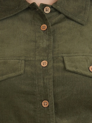 green cotton corduroy shirt - 14527839 - Standard Image - 4