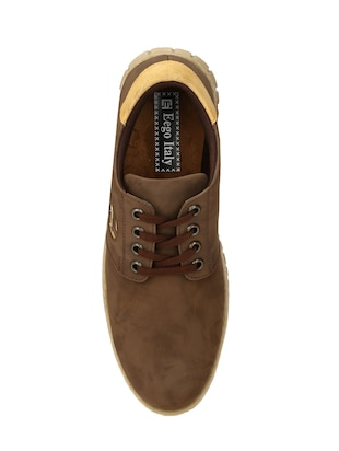 brown leatherette lace up shoe - 14528691 - Standard Image - 4