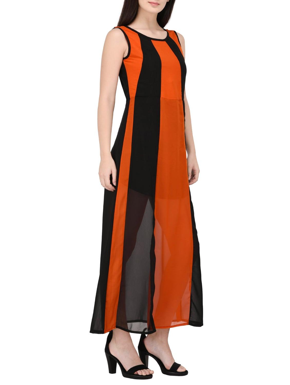 65b61dbd214ab Buy Black Striped Maxi Dress by Triraj - Online shopping for Dresses in  India
