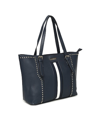 blue leatherette  regular handbag - 14530329 - Standard Image - 4