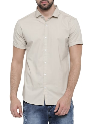 beige cotton blend casual shirt -  online shopping for casual shirts