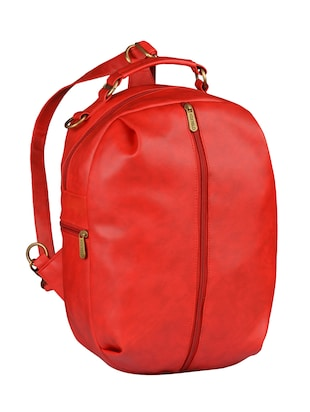 red leatherette  fashion backpack - 14533591 - Standard Image - 4