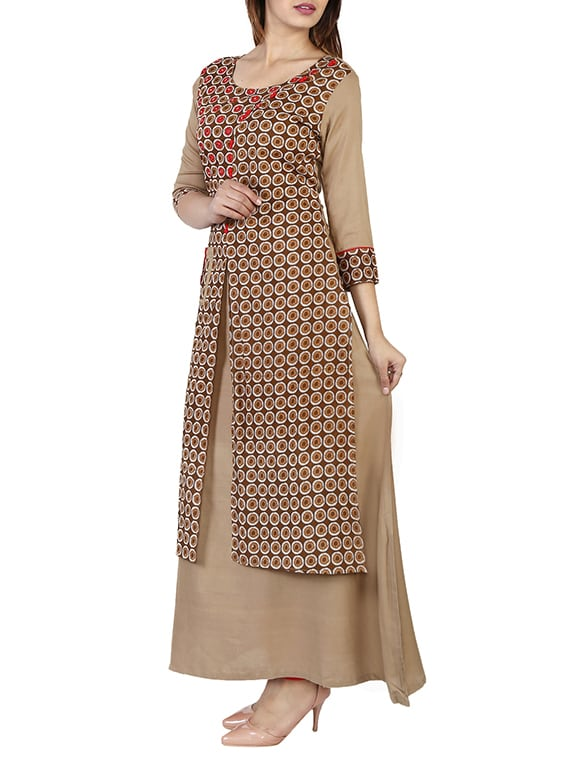 721907b312 Buy Brown Viscose Layered Kurta for Women from Pradhan Jaipur for ₹874 at  55% off | 2019 Limeroad.com