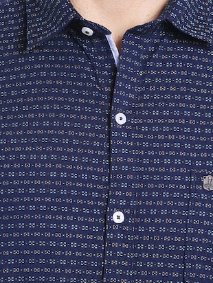 navy blue cotton casual shirt - 14537498 - Standard Image - 4