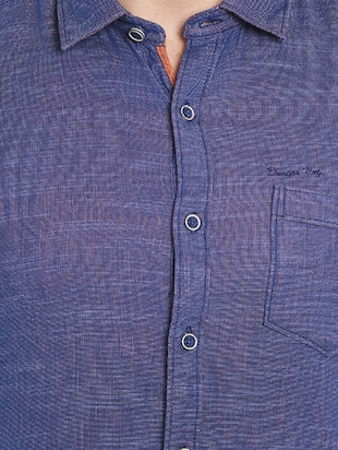 navy blue cotton casual shirt - 14537510 - Standard Image - 4