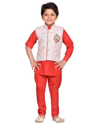 red cotton blend kurta set - 14537655 - Standard Image - 4
