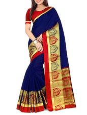 blue cotton woven saree -  online shopping for Sarees