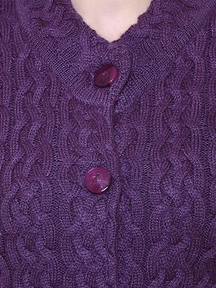 purple woolen coatigan - 14539941 - Standard Image - 4