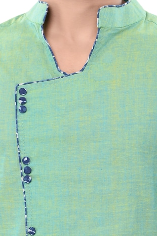 green cotton long  kurta - 14543996 - Standard Image - 4