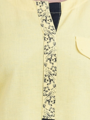yellow cotton straight kurta - 14544250 - Standard Image - 4
