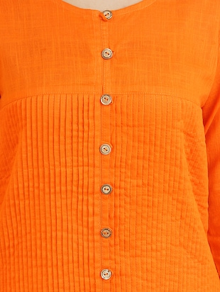 orange cotton high slit kurta - 14544261 - Standard Image - 4