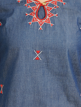 blue cotton straight kurta - 14544364 - Standard Image - 4
