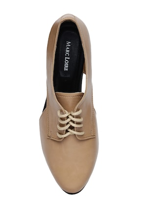 beige faux leather laceup casual shoes - 14544473 - Standard Image - 4