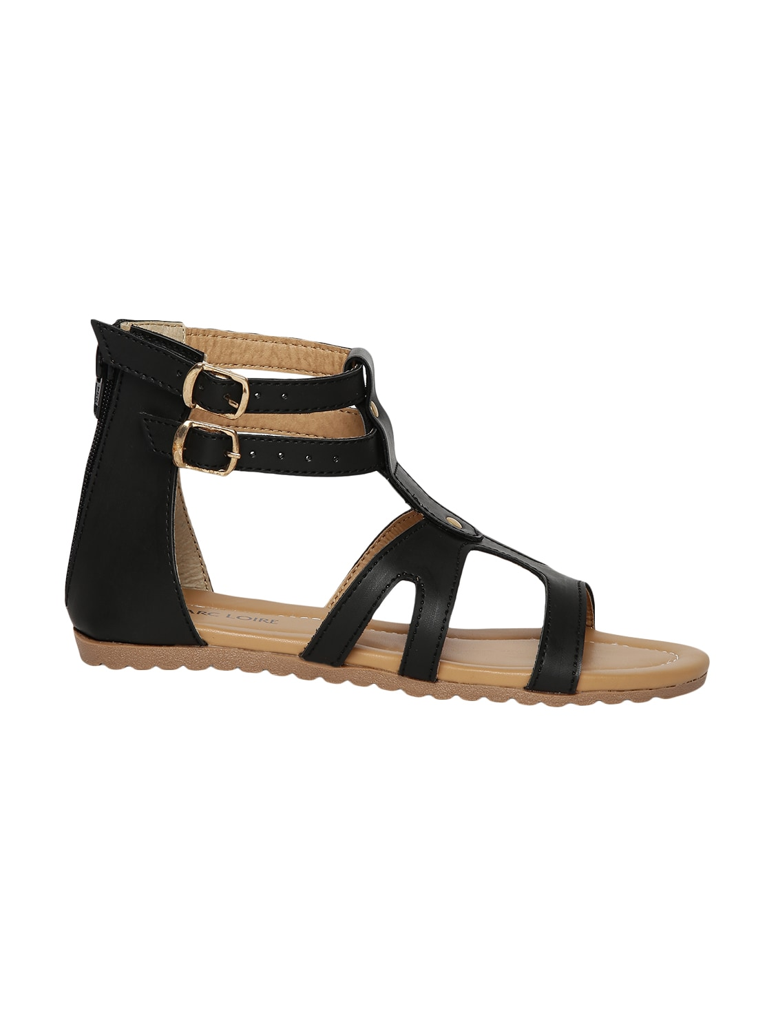 b86ca6abe08 Buy Black Faux Leather Gladiators Sandals for Women from Marc Loire for  ₹987 at 48% off