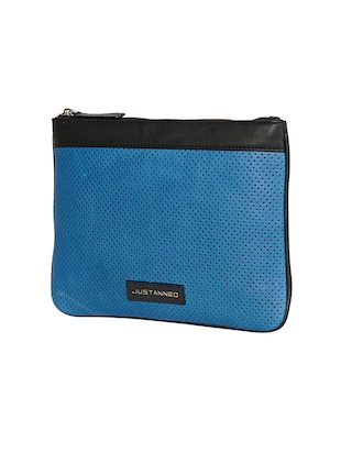 blue leather regular pouch - 14545861 - Standard Image - 4