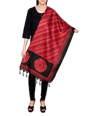 Red Poly Silk Tie & Dye Dupatta - By