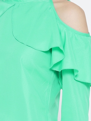 green ruffled top - 14547765 - Standard Image - 4