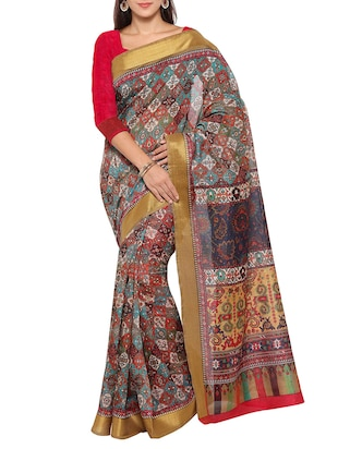multi colored tussar silk combo saree with blouse - 14553829 - Standard Image - 4
