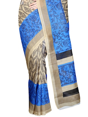 beige & blue printed saree with blouse - 14555249 - Standard Image - 4