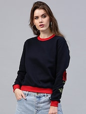 navy blue fleece sweatshirt -  online shopping for sweatshirts