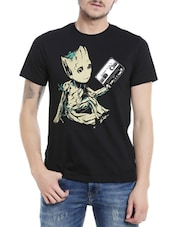 black cotton character print t-shirt -  online shopping for T-Shirts
