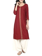 maroon rayon straight kurta -  online shopping for kurtas