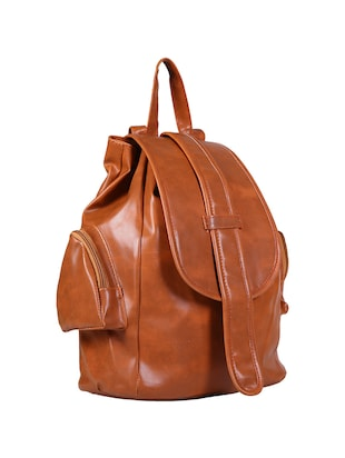 brown leatherette  fashion backpack - 14559934 - Standard Image - 4