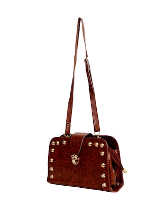 brown leatherette  regular sling bag - 14559952 - Standard Image - 4