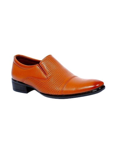 brown leatherette formal slip on - 14561836 - Standard Image - 1