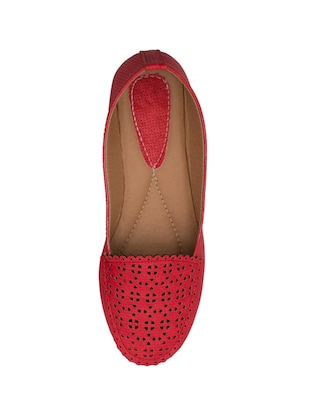 red faux leather slip on loafers - 14565098 - Standard Image - 4