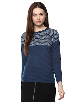 blue woolen pullover -  online shopping for Pullovers