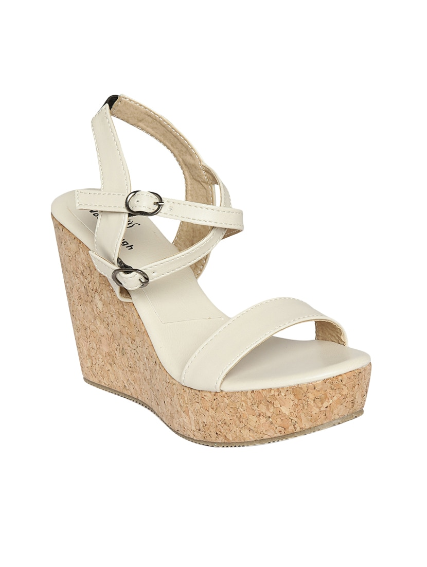 b6d855c41df1 Buy White Pu Platforms Wedges for Women from Woodbrough for ₹919 at 60% off